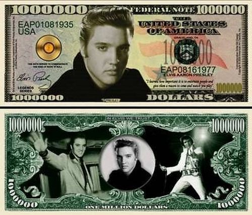 Elvis Presley Million Dollar Bill Fake Play Funny Money Novelty Note FREE SLEEVE