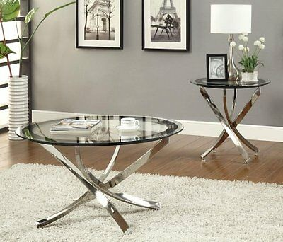 $163.39 - Coaster Home Furnishings 702588 Contemporary Coffee Table, Chrome, New, Free Shi