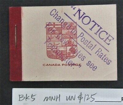 nystamps Canada Stamp # BK5 Mint OG NH UN$125   L16y3150