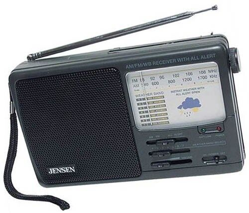 Weather Radio AM/FM Band All Alert 7 Channels Uses Batteries AC Adaptor Jensen