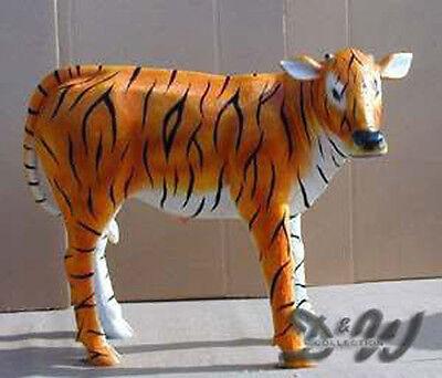 DEKO KUH KALB Kunstbemalung TIGER lebensgroß  Garten Tier Figur TIERISCHE KUNST