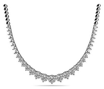 10 ct Round Diamond Graduated Tennis Necklace 14k white gold 0.75 ct center GIA
