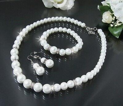 Perlenkette Collier Armband Ohrringe Weiss Perlen Schmuck Braut Hochzeit S1404#