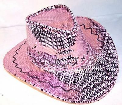 PINK SEQUIN COWBOY HAT western hats dance party items cowgirl women ladies girls (Girls Pink Cowgirl Hat)