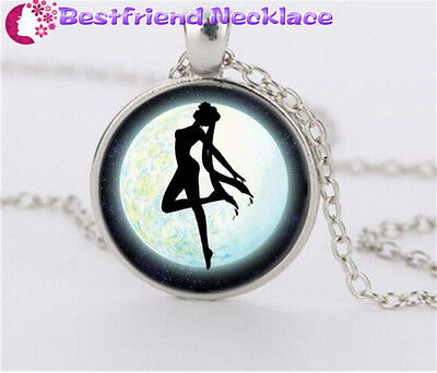NEW Silver Anime Sailor Moon Jewelry Glass Dome Pendant Necklace#NS10