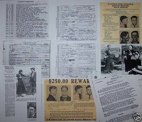 Bonnie & Clyde Gang,15 DEATH CERTIFICATES + 3 PHOTOS + Rare Research Documents