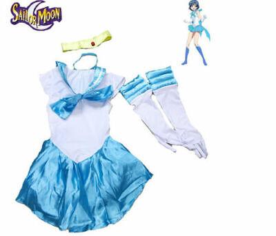 Red Moon Halloween Party (Sailor Moon Mercury Costume Fancy Light Blue Dress for Cosplay Halloween)
