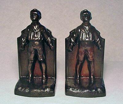 Gray Metal Sailor Boy Bookends circa 1932 by K&O Company/Nice Condition