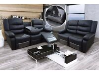 Romina 3 Seater Black Bonded Leather Luxury Recliner Sofa With Pull Down Drink Holder. UK Delivery!