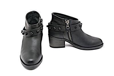 "HENRY BEGUELIN Black Leather ""Silk Nero Elefante"" Ankle Boots - 36/US6 NWB"