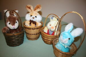 4 Beautiful Easter Bunnies in a Basket $5.00