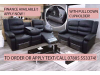 3 plus 2 seater bonded leather recliner sofa set with drink holder black or brown