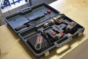 Bosch Brute Tough 18v Hammer Drill + 2 Batts + Handle + Case