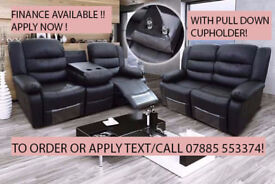 bonded leather 3 plus 2 recliner suite black or brown