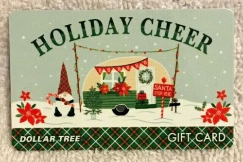 Dollar Tree Holiday Cheer Camper / Trailer Gnome Snow Poinsettias 2021 Gift Card