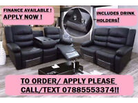 sofa recliner suite bonded leather 3 plus 2 seater black or brown