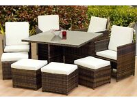 8 Seater Outdoor Rattan Cube Dining Set