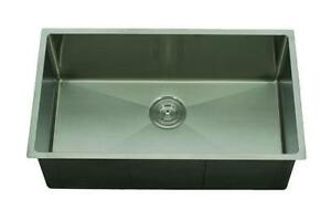 "Small Radius Hand Made Stainless Steel Sink 10"" 30x17"