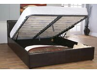 Attractive Design ****Stunning Faux Leather Storage Bed With Mattress Single/Double Options