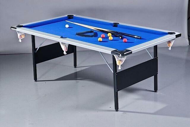 Blue 7 ft folding pool table