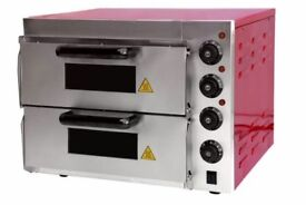 "New Commercial Baking Oven Fire Stone Electric Pizza Oven 2 x 16"" Twin Deck"