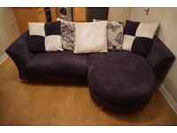 4 seater purple sofa with footstool excellent condition (DFS)