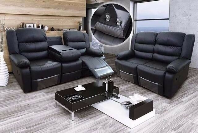 Romano 3 And 2 Seater Leather Recliner Sofa Cupholder Free Stool