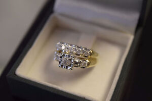 14K Gold 0.50ct Diamond Engagement/Wedding Ring Set - Size 7...