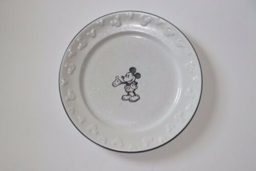 Disney Parks Mickey Mouse Black/White Dinner Plate Embossed Trim Retired