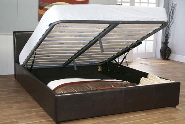 ottoman style faux leather black bed frame in forest gate
