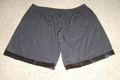 Ladies Black Shorts PVC Trim Punk Rock Star 1980s Fancy Dress Costume M 12-14