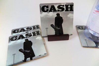 Johnny Cash Coasters_Metal _. Set of 4 with Mahogany Stand.