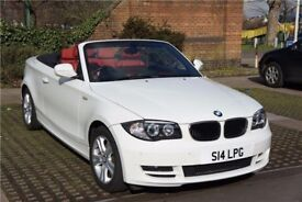 White BMW 1 Series Convertible (Sat Nav - Dash Cam - Xenon Lights - Red Leather )