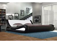 New 'Chicago' Black/White Faux Leather King Size - 5FT Bed Frame (Free Local Delivery)
