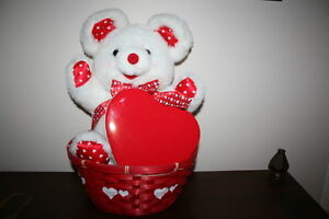 Bear in Valentine Red Heart Basket with a Red Heart Box $5.00
