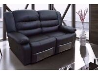 Luxury Reese 3&2 Bonded Leather Recliner Sofa set with pull down drink holder
