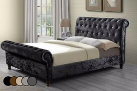 LIMITED STOCK OFFER *** SLIEGH BED FRAME CRUSHED VELVET FABRIC BLACK, CREAM & SILVER COLOR