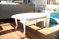 Beautiful and Elegant White Queen Anne Style Coffee Table