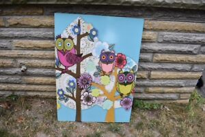 Wall decoration- colourful owl poster/picture