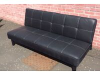 Black faux leather sofa settee, excellent condition