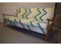 Vintage Sofa - Folds flat into bed, four cushions included, pick up only.