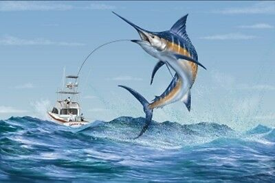 Marlin Fishing  Deep Sea Fishing  Off Shore Fishing Mural  48  T X 72  W