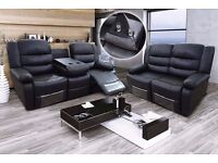 Rodo 3 & 2 Black Bonded Leather Luxury Recliner Sofa Set With Pull Down Drink Holder. UK Delivery