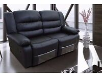 Rosso 3 & 2 Black Bonded Leather Luxury Recliner Sofa Set With Pull Down Drink Holder. UK Delivery