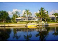Fantastic waterfront Florida Gulf Coast Villa- private pool and boat dock July/Aug available