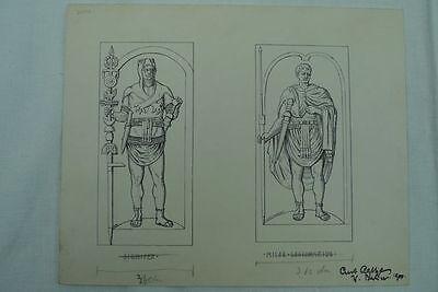 """Zeichnung Curt Agthe Berlin 1900 """" Signifer / Miles Legionarius"""" antike Kämpfer"""