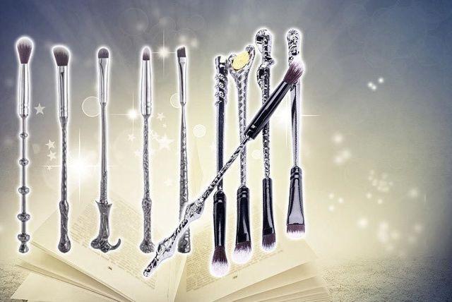 10pc Magical Harry Wizard Wand Magic Makeup Eye Brow Blending Brushes Set Potter
