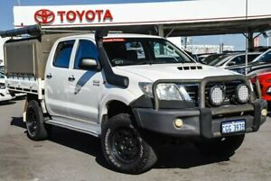 2012 Toyota Hilux KUN26R MY12 SR (4x4) Glacier White 5 Speed Manual Dual Cab Chassis
