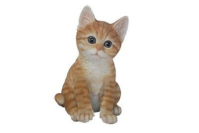 CAT SITTING TABBY KITTEN LIFE LIKE REALISTIC HOME GARDEN DECOR STATUE FIGURINE  for sale  USA