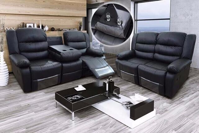 Romano 3 Seater Recliner Sofa Black Bonded Leather Luxury With Pull Down Drink Holder Uk